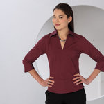 Women's ¾ Sleeve Stretch Shirt Zip Top