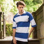Sewn stripe short sleeve rugby shirt