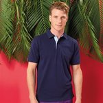 Cotton polo with Oxford fabric insert