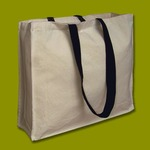 Natural canvas  tote 8oz Shopper 43x37x10cm Lg black Handles. Gusset
