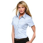 Corporatepocket oxford blouse short sleeved ladies